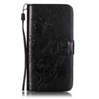Чехол портмоне подставка текстура Узоры на силиконовой основе на магнитной защелке для LG K7  Черный