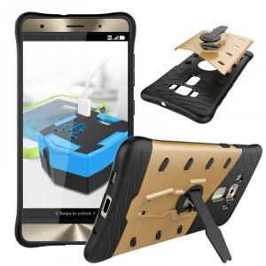 Противоударный двухкомпонентный силиконовый матовый непрозрачный чехол с поликарбонатными вставками экстрим защиты с встроенной ножкой-подставкой для Asus ZenFone 3 Deluxe Бежевый