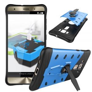 Противоударный двухкомпонентный силиконовый матовый непрозрачный чехол с поликарбонатными вставками экстрим защиты с встроенной ножкой-подставкой для Asus ZenFone 3 Deluxe