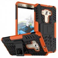 Противоударный двухкомпонентный силиконовый матовый непрозрачный чехол с поликарбонатными вставками экстрим защиты с встроенной ножкой-подставкой для Asus ZenFone 3 Deluxe  Оранжевый