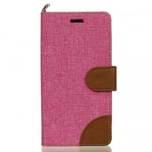 Чехол горизонтальная книжка подставка текстура Ткань на силиконовой основе с отсеком для карт с на дизайнерской магнитной защелке для LG K7  Розовый