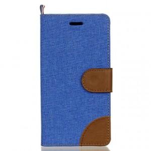 Чехол горизонтальная книжка подставка текстура Ткань на силиконовой основе с отсеком для карт с на дизайнерской магнитной защелке для LG K7  Синий