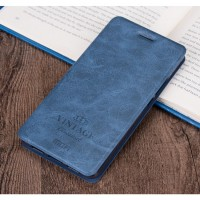 Винтажный чехол флип подставка на силиконовой основе с отсеком для карт для Asus ZenFone 3 Deluxe  Синий