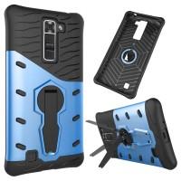 Противоударный двухкомпонентный силиконовый матовый непрозрачный чехол с поликарбонатными вставками экстрим защиты с встроенной ножкой-подставкой для LG K7 Синий
