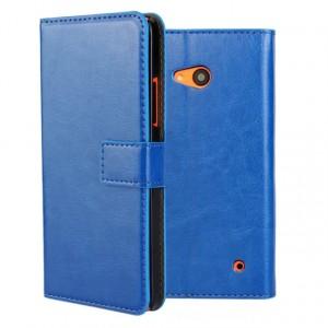 Винтажный чехол портмоне подставка на пластиковой основе на магнитной защелке для Microsoft Lumia 640  Синий