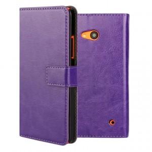 Винтажный чехол портмоне подставка на пластиковой основе на магнитной защелке для Microsoft Lumia 640  Фиолетовый