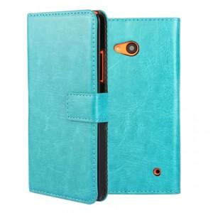 Винтажный чехол портмоне подставка на пластиковой основе на магнитной защелке для Microsoft Lumia 640  Голубой