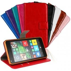 Винтажный чехол портмоне подставка на пластиковой основе на магнитной защелке для Microsoft Lumia 640