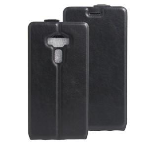 Чехол вертикальная книжка на силиконовой основе с отсеком для карт на магнитной защелке для Asus ZenFone 3 Deluxe  Черный