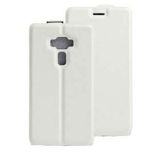 Чехол вертикальная книжка на силиконовой основе с отсеком для карт на магнитной защелке для Asus ZenFone 3 Deluxe  Белый