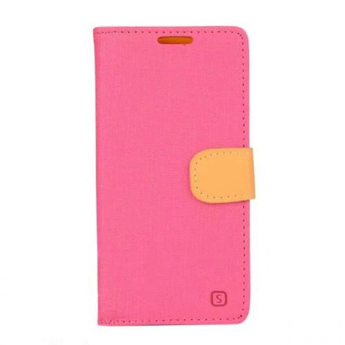 Чехол портмоне подставка на силиконовой основе с тканевым покрытием на дизайнерской магнитной защелке для Microsoft Lumia 640