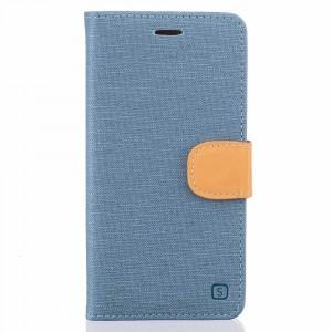 Чехол портмоне подставка на силиконовой основе с тканевым покрытием на дизайнерской магнитной защелке для BQ Aquaris X5