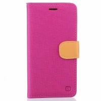Чехол портмоне подставка на силиконовой основе с тканевым покрытием на дизайнерской магнитной защелке для BQ Aquaris X5  Пурпурный