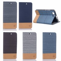 Чехол портмоне подставка на силиконовой основе с тканевым покрытием для BQ Aquaris X5