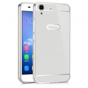 Двухкомпонентный чехол c металлическим бампером с поликарбонатной накладкой для Huawei Y6II  Белый