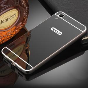 Двухкомпонентный чехол c металлическим бампером с поликарбонатной накладкой и зеркальным покрытием для Huawei Y6II  Черный