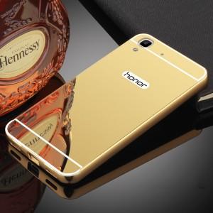 Двухкомпонентный чехол c металлическим бампером с поликарбонатной накладкой и зеркальным покрытием для Huawei Y6II  Бежевый