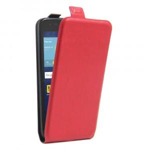 Чехол вертикальная книжка на силиконовой основе с отсеком для карт на магнитной защелке для LG K7 Красный