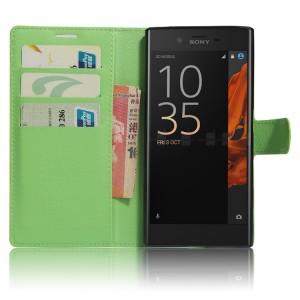 Чехол портмоне подставка на силиконовой основе на магнитной защелке для Sony Xperia XZ/XZs Зеленый