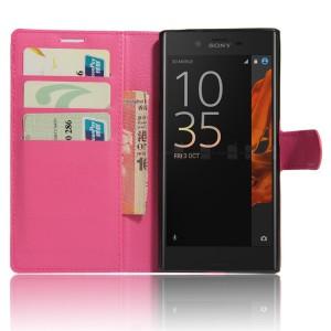 Чехол портмоне подставка на силиконовой основе на магнитной защелке для Sony Xperia XZ/XZs Пурпурный