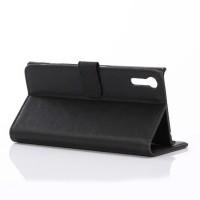 Винтажный чехол портмоне подставка на пластиковой основе на магнитной защелке для Sony Xperia XZ/XZs Черный
