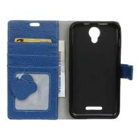 Кожаный чехол портмоне подставка на силиконовой основе с зерновой текстурой на магнитной защелке для Alcatel Pixi 4 (5) 5010D
