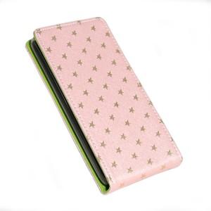 Чехол вертикальная книжка текстура Звёзды на силиконовой основе на магнитной защелке для Xiaomi RedMi 3 Розовый