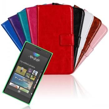 Глянцевый водоотталкивающий чехол портмоне подставка на пластиковой основе на магнитной защелке для Nokia Lumia 730/735