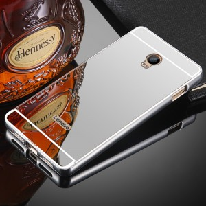 Двухкомпонентный чехол c металлическим бампером с поликарбонатной накладкой и зеркальным покрытием для Lenovo Vibe P1