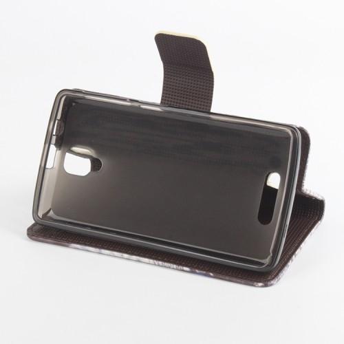 Чехол портмоне подставка на силиконовой основе с полноповерхностным принтом на магнитной защелке для Lenovo A1000