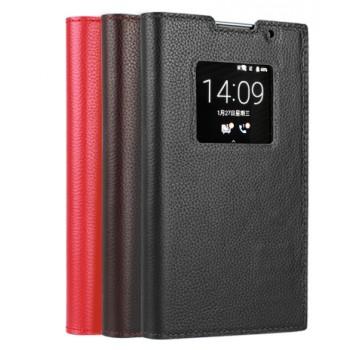 Чехол горизонтальная книжка подставка на пластиковой основе с окном вызова для Blackberry Priv