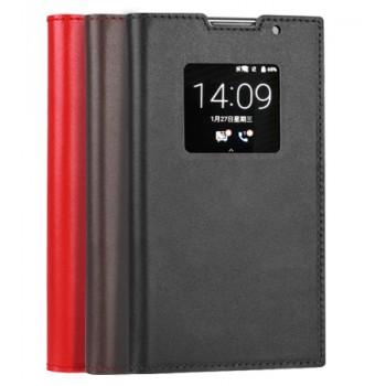 Винтажный гладкий чехол горизонтальная книжка на пластиковой основе с окном вызова для Blackberry Priv