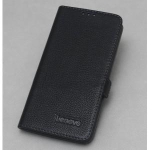 Кожаный чехол горизонтальная книжка с крепежной застежкой для Lenovo Vibe P1  Черный