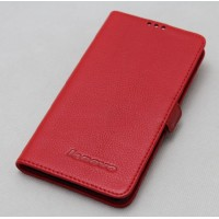 Кожаный чехол горизонтальная книжка с крепежной застежкой для Lenovo Vibe P1  Красный