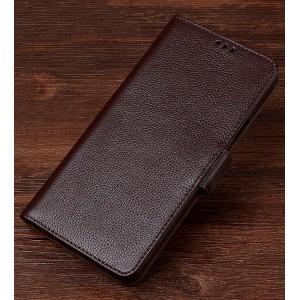 Кожаный чехол портмоне подставка (премиум нат. кожа) с крепежной застежкой для Sony Xperia XZ/XZs Коричневый