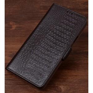 Кожаный чехол портмоне подставка (премиум нат. кожа крокодила) с крепежной застежкой для Sony Xperia XZ/XZs Коричневый