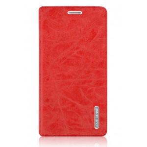 Винтажный чехол горизонтальная книжка подставка на пластиковой основе с отсеком для карт на присосках для OnePlus 3  Красный