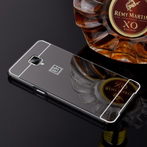 Двухкомпонентный чехол c металлическим бампером с поликарбонатной накладкой и зеркальным покрытием для OnePlus 3  Черный