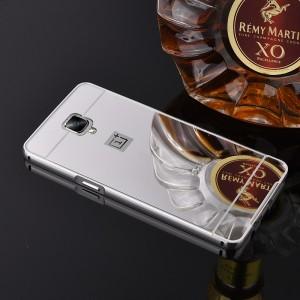 Двухкомпонентный чехол c металлическим бампером с поликарбонатной накладкой и зеркальным покрытием для OnePlus 3  Белый