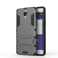 Противоударный двухкомпонентный силиконовый матовый непрозрачный чехол с поликарбонатными вставками экстрим защиты с встроенной ножкой-подставкой для OnePlus 3  Серый