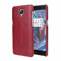 Кожаный чехол накладка (премиум нат. кожа) для OnePlus 3 Красный