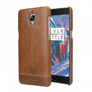 Кожаный чехол накладка (премиум нат. кожа) для OnePlus 3 Коричневый