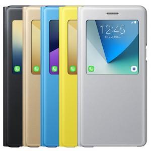Оригинальный кожаный чехол горизонтальная книжка подставка (премиум нат. кожа) с окном вызова для Samsung Galaxy Note 7