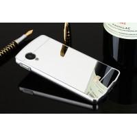 Двухкомпонентный чехол c металлическим бампером с поликарбонатной накладкой и зеркальным покрытием для Google LG Nexus 5  Белый