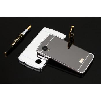 Двухкомпонентный чехол c металлическим бампером с поликарбонатной накладкой и зеркальным покрытием для Google LG Nexus 5