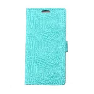Чехол портмоне подставка текстура Крокодил на силиконовой основе на магнитной защелке для Asus ZenFone 3 5.2  Голубой