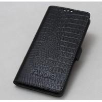 Кожаный чехол горизонтальная книжка подставка текстура Крокодил с крепежной застежкой для ZTE Nubia Z11 Черный