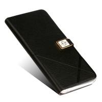 Чехол горизонтальная книжка подставка на силиконовой основе на дизайнерской магнитной защелке для ZTE Nubia Z11  Черный