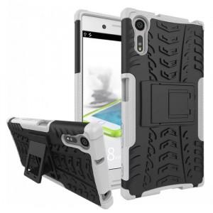 Противоударный двухкомпонентный силиконовый матовый непрозрачный чехол с поликарбонатными вставками экстрим защиты с встроенной ножкой-подставкой для Sony Xperia XZ/XZs Белый