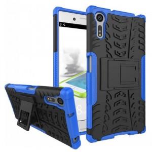 Противоударный двухкомпонентный силиконовый матовый непрозрачный чехол с поликарбонатными вставками экстрим защиты с встроенной ножкой-подставкой для Sony Xperia XZ/XZs Синий